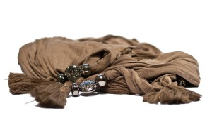 Tassell Scarf Brown - Click for a closer look